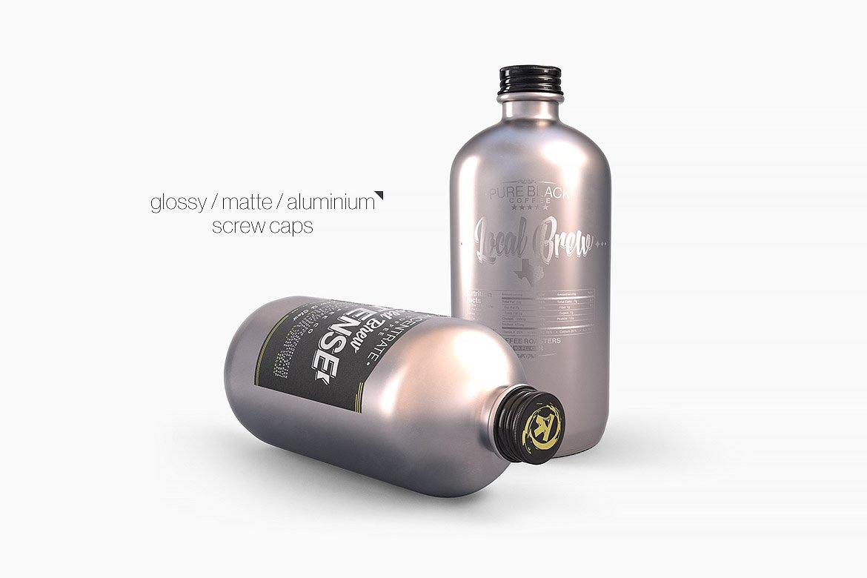 逼真干净的波士顿瓶塑料金属圆瓶PSD模型(4224)插图(8)