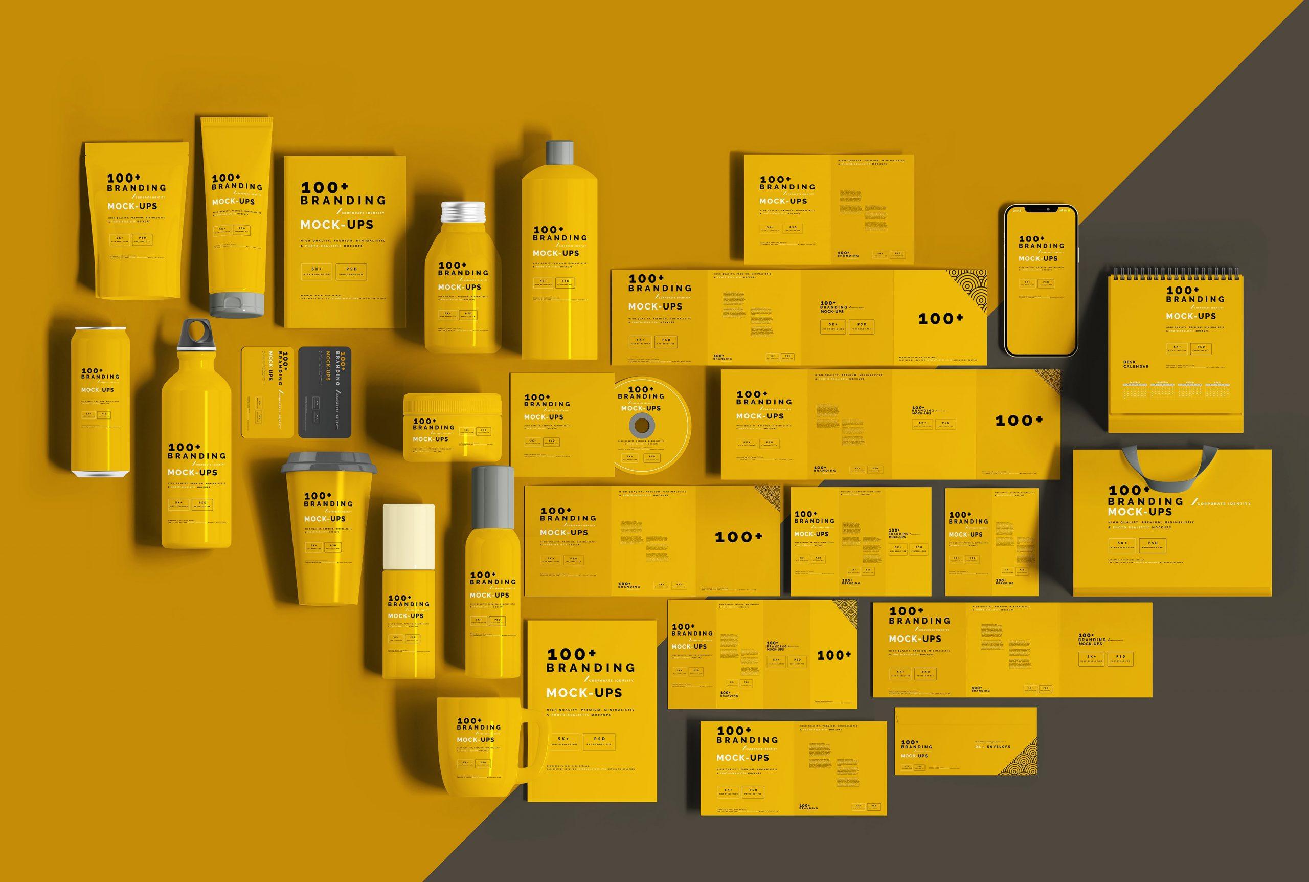 VI样机:100多个宣传册书籍瓶子名片CD封套咖啡杯化妆品海报横幅高分辨率品牌PSD样机(4248)插图