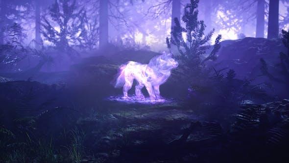 雾气魔法森林狼吼叫LOGO展示(4249)插图