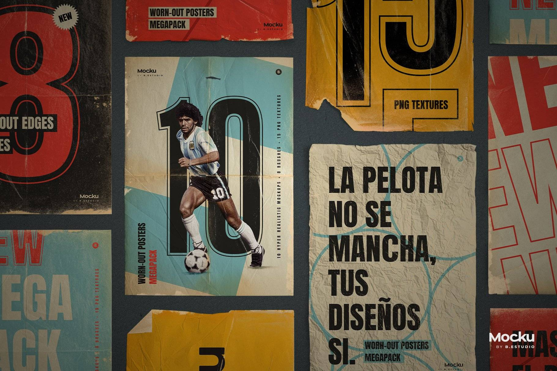 Megapack 复古破旧划痕撕纸褶皱海报PSD模板+笔刷(4318)插图