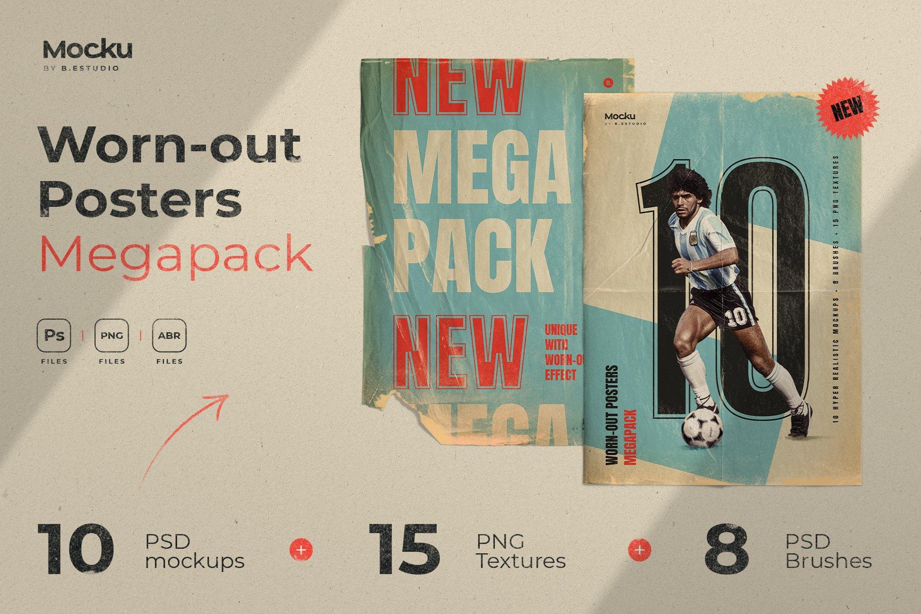 Megapack 复古破旧划痕撕纸褶皱海报PSD模板+笔刷(4318)插图(10)
