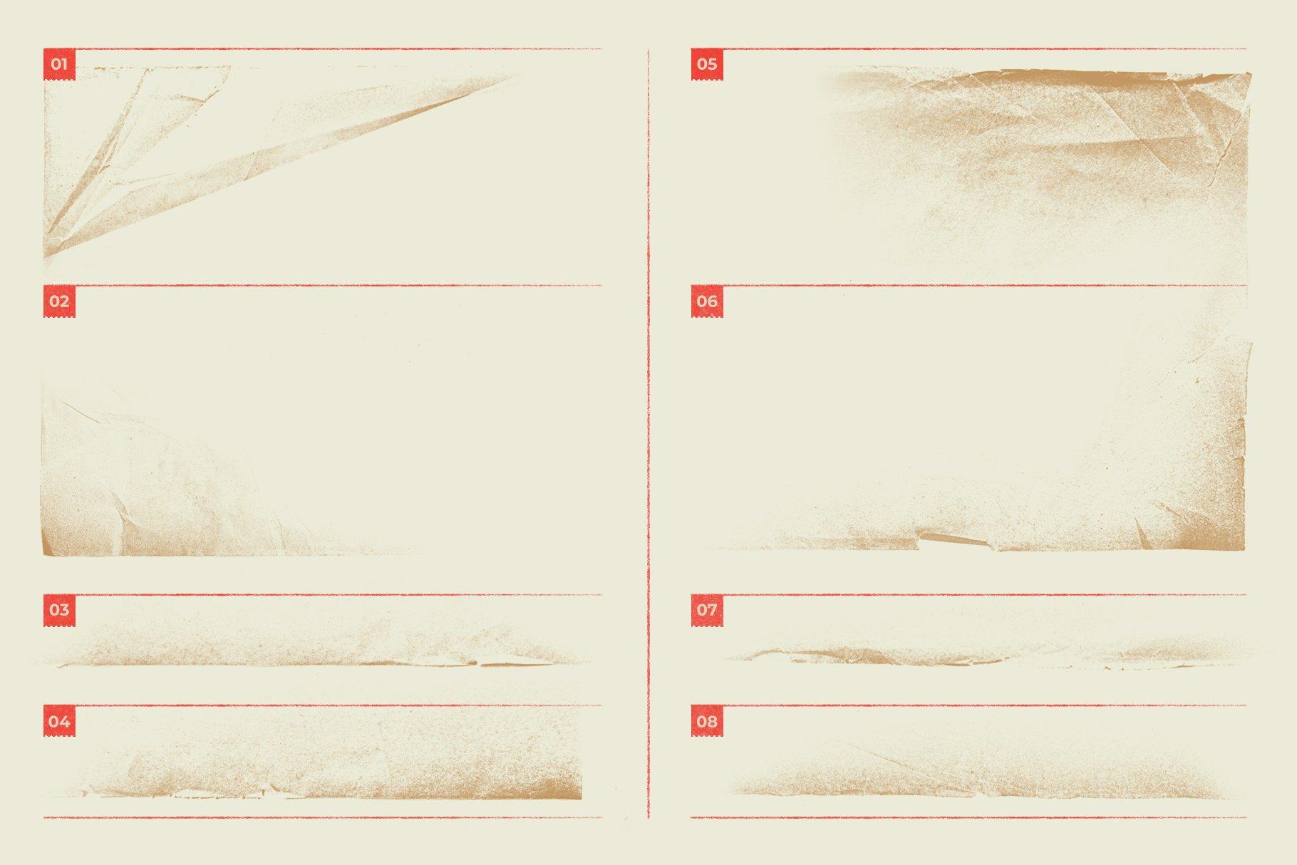 Megapack 复古破旧划痕撕纸褶皱海报PSD模板+笔刷(4318)插图(2)