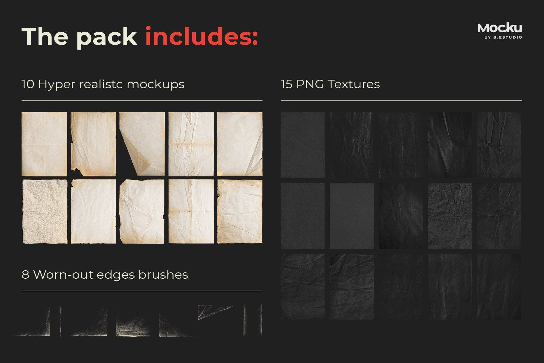 Megapack 复古破旧划痕撕纸褶皱海报PSD模板+笔刷(4318)插图(1)