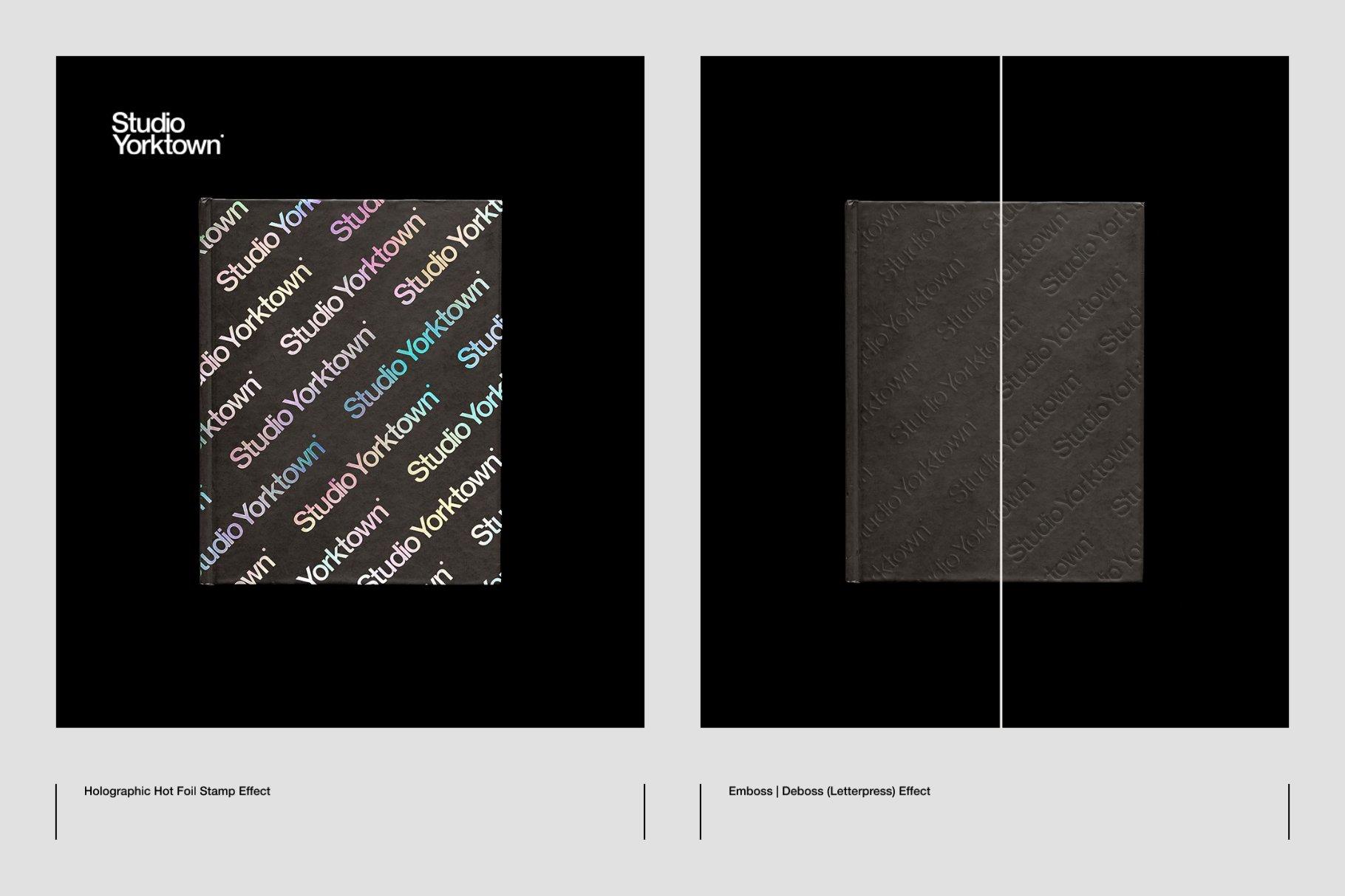 Honbako 逼真全息箔页面卷曲书籍设计PSD样机模板(4329)插图(8)