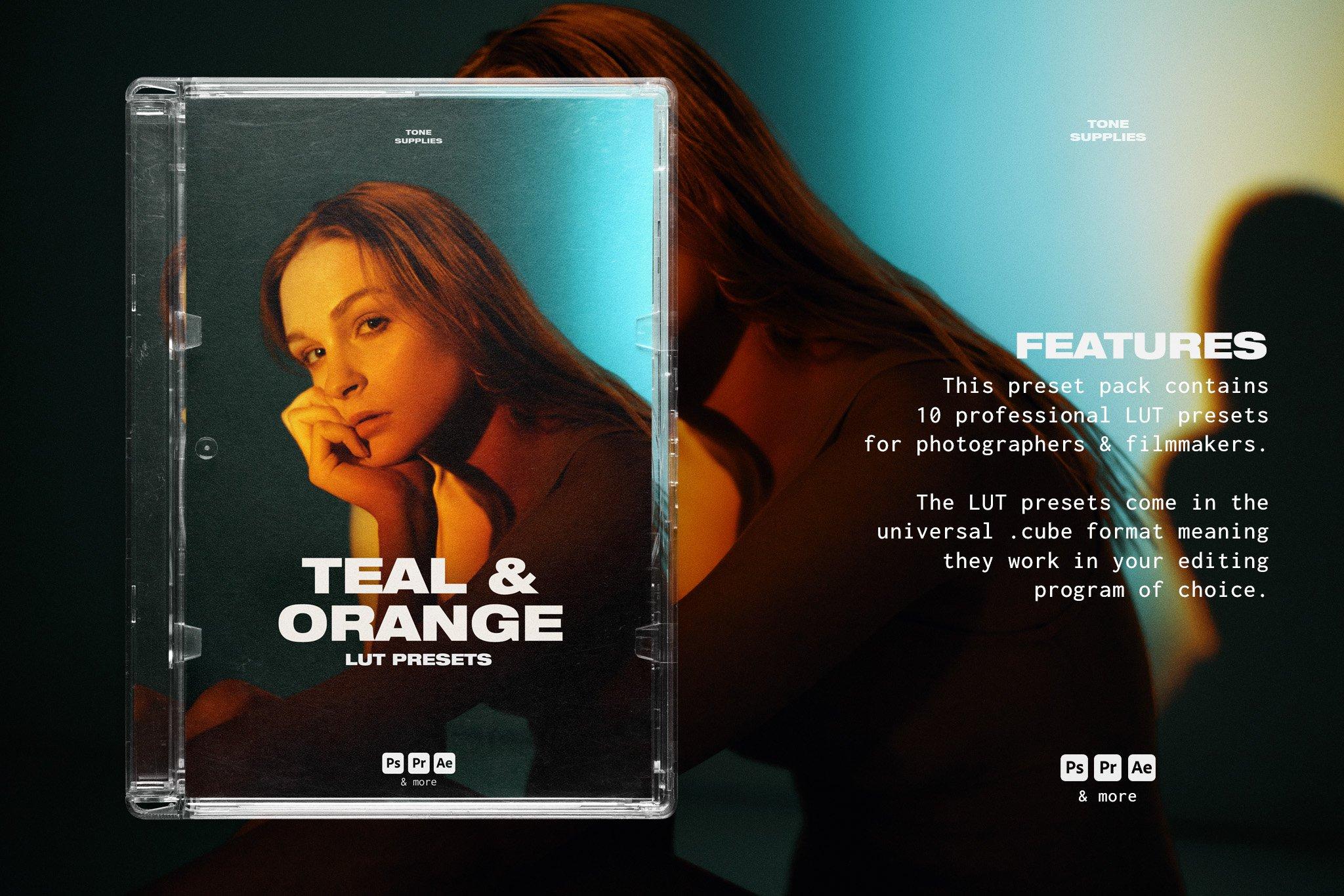 TONE SUPPLIES 10个专业艺术品戏剧性互补色蓝橙色LUT预设(4341)插图(1)