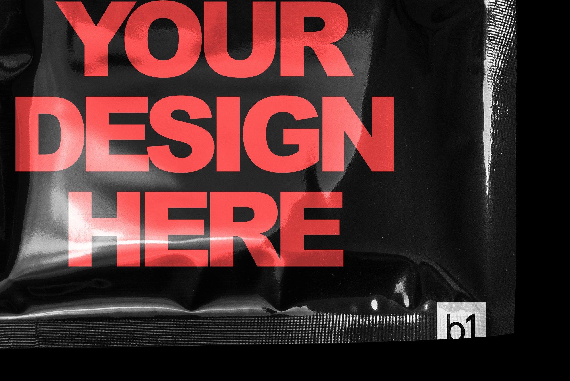 超酷新潮黑色独特逼真文具塑料褶皱塑料袋纹理PSD模板(4352)插图(9)