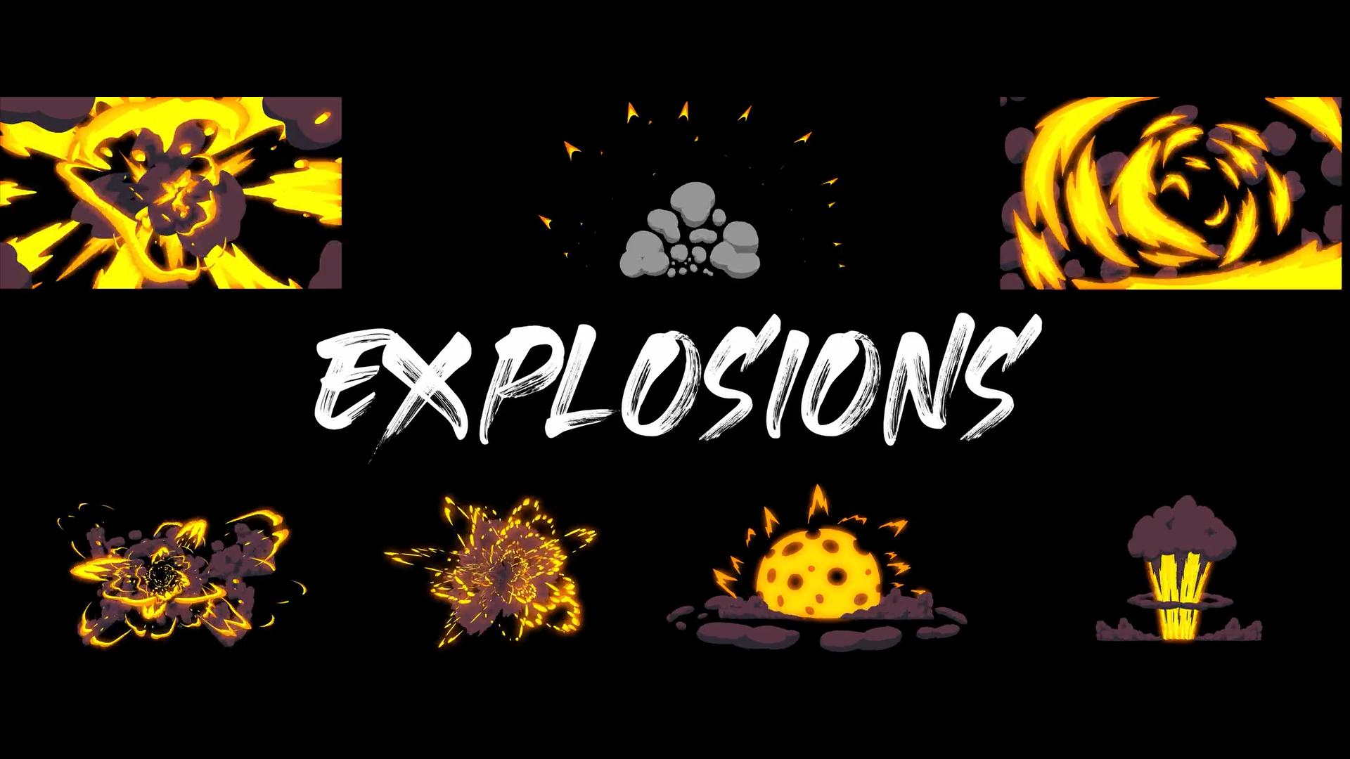 Cinepacks 2d卡通动画爆炸动作水花飞溅火焰效果烟雾缭绕视频素材(4370)插图(4)