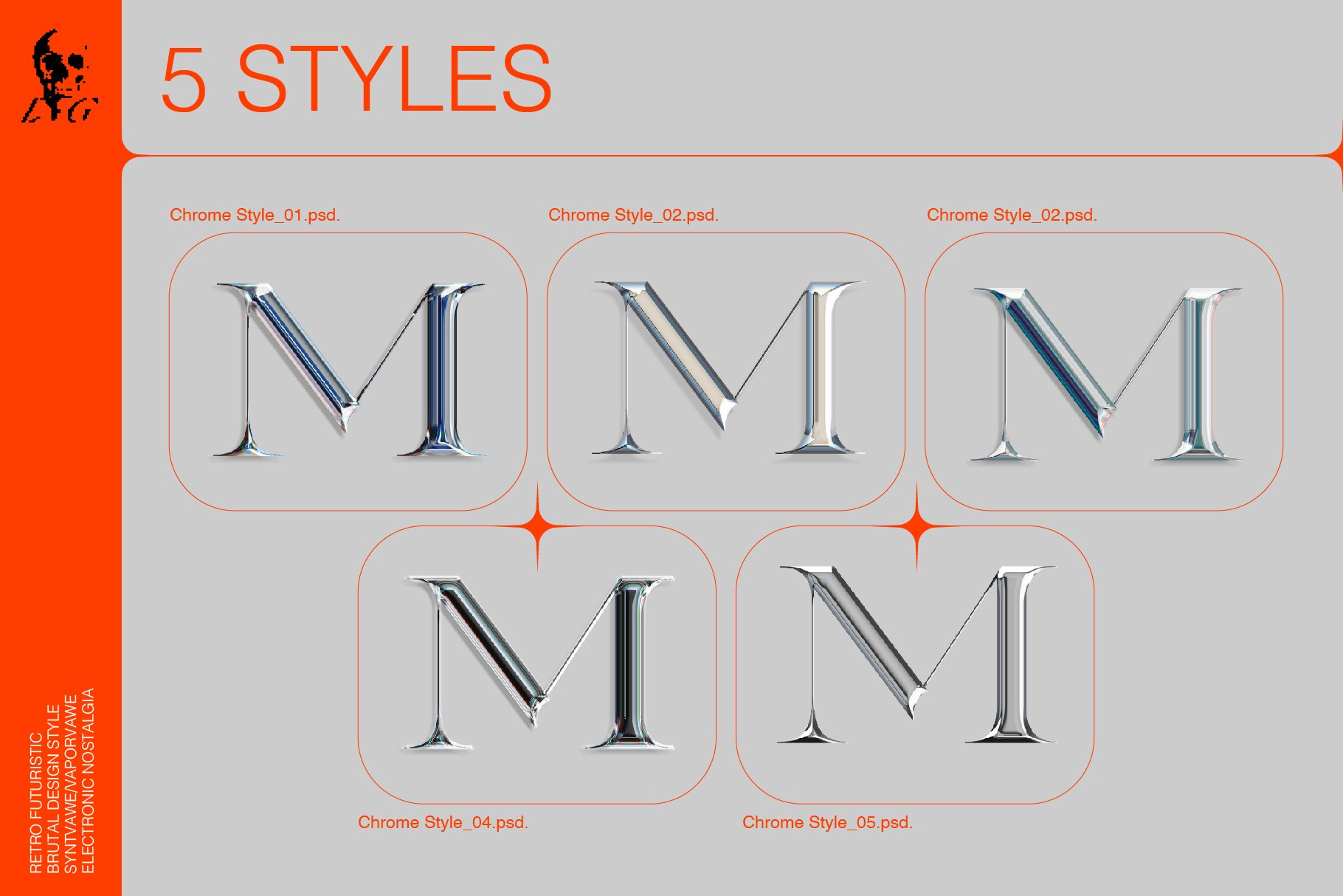 5种酸性复古未来主义镀铬风格设计元素(4371)插图(2)