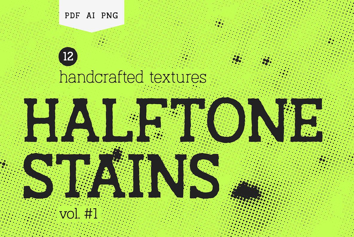 高分辨率独特的手工纹理半色调污渍Vol.1(4728)插图