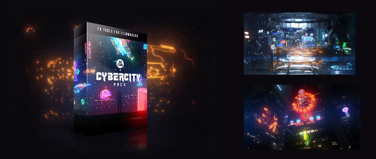 Bigfilms 赛博朋克全息潮流未来派科幻发光图形视频素材+音频素材