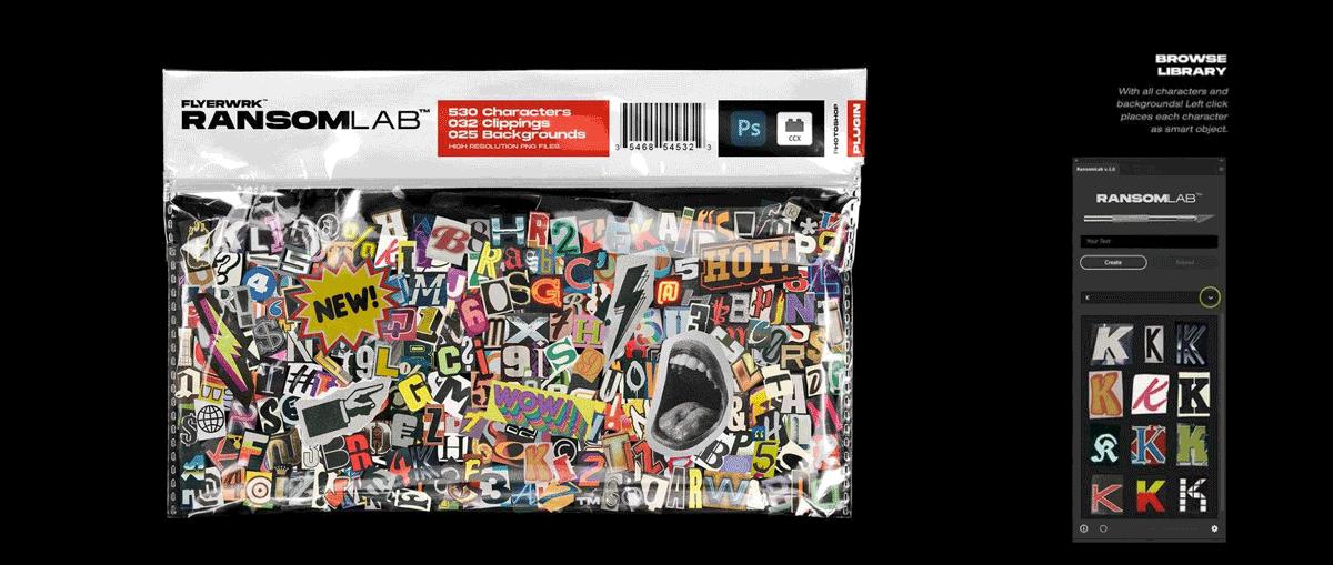 Flyerwrk 复古趣味杂志报纸手工剪撕纸动态拼贴字母海报图形PS插件+素材包